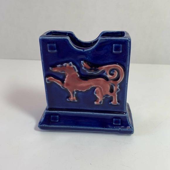 Vtg Dragonware Ceramic Vase Planter Holder Blue